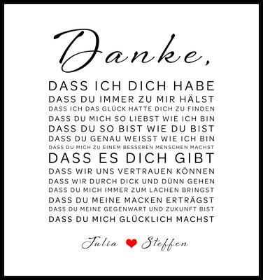 personalisiertes poster - geschenk - liebe - hochzeit - namen personalisiert - danke - liebeserklärung - heiraten - gefunden
