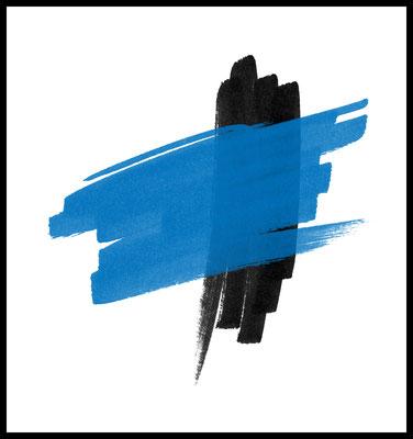 blau zu schwarz premium poster - graphic - pinsel striche - wallart - kunst - wandbild