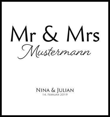 personalisiertes poster - geschenk - liebe - hochzeit - namen personalisiert - heiraten - mr & mrs - nachname - verheiratet - hochzeitsgeschenk