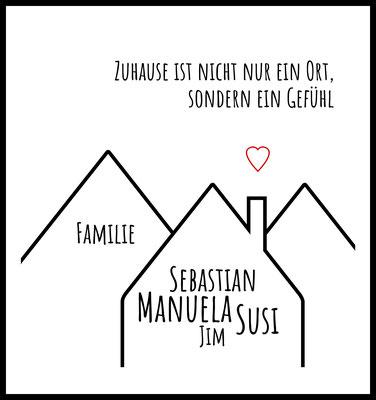 personalisiertes poster - geschenk - familie - family - namen personalisiert - geschenkidee - muttertag - haus - zuhause -home