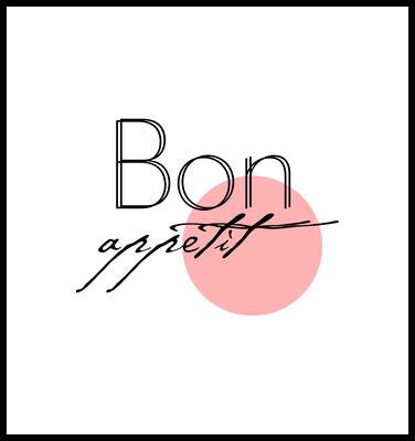 bon appetit premium poster - küche - typografie - quotes - wandbilder