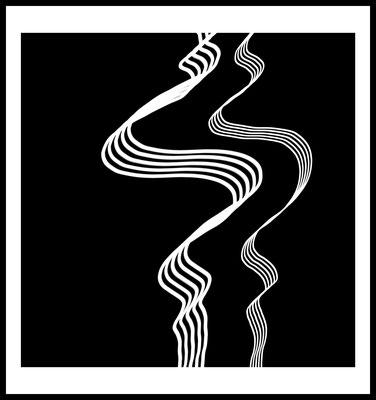 weisse wellen premium poster - graphic - pinselstriche - art - schwarz weiss - modern - wandbild