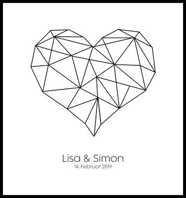 personalisiertes poster - geschenk - liebe - hochzeit - namen personalisiert - herz - love - zusammen -