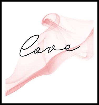 love schleier premium poster - typographie - liebe - rosa - valentinstag - geschenk - hochzeit