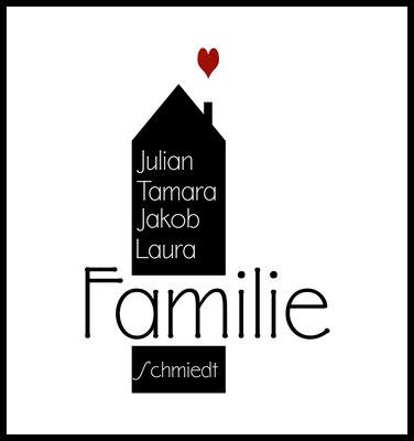 personalisiertes poster - geschenk - familie - family - namen personalisiert - herz - haus - zuhause