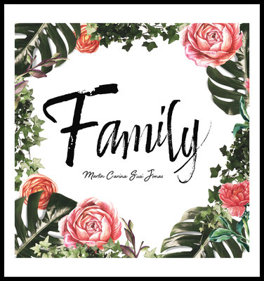 personalisiertes poster - geschenk - familie - family - namen personalisiert - flowers - blumen - retro - vintage