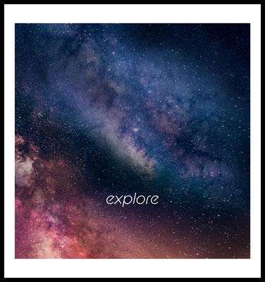 explore premium poster - typografie - stars - weltraum - motivation