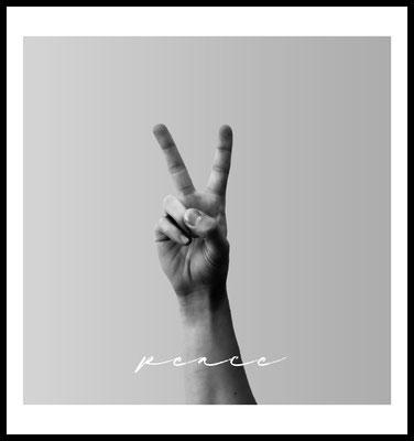 peace premium poster - handzeichen - sw - typografie - friede - wandbild