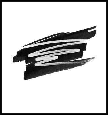 schwarz auf weiss premium poster - graphic - striche - pinsel - art - wallart
