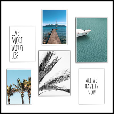 4onepictures_poster_set_wohnzimmer_palmen_meer_sea_ocean_natur_blau_typographie_yacht_boot_schiff_motivation_beach