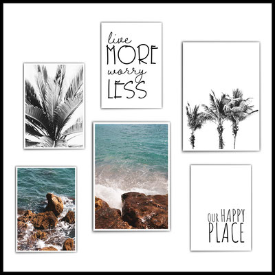 4onepictures_poster_set_wohnzimmer_palmen_meer_sea_ocean_motivation_livemore_happyplace_blau_typographie_beach