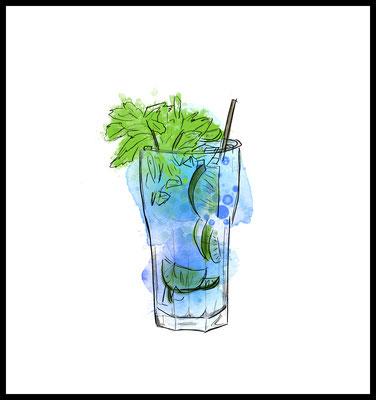 longdrink premium poster - cocktail motiv - drink - party - graphic - wandbild - party - limetten