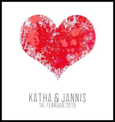 4onepictures premium poster - personalisiert - herz - rot - love - geschenk zu valentinstag - hochzeit