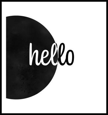 hello premium poster - typografie - sw - 4onepictures - wandbilder