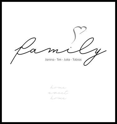 personalisiertes poster - geschenk - familie - family - namen personalisiert - home sweet home - love - herz