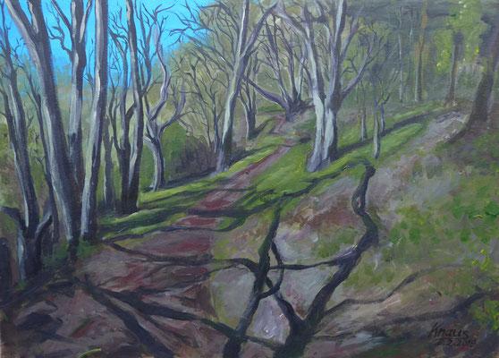 Waldweg in Weiler oberhalb der Weilerhalde , Acryl   Martin Knaus