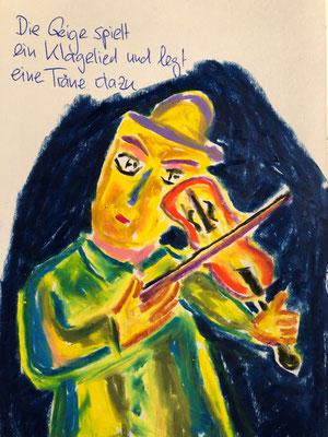 Die Geige spielt ein Klagelied und legt eine Träne dazu