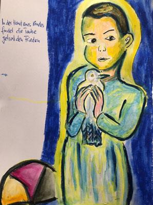 In der Hand eines Kindes findet die Taube getrost den Frieden