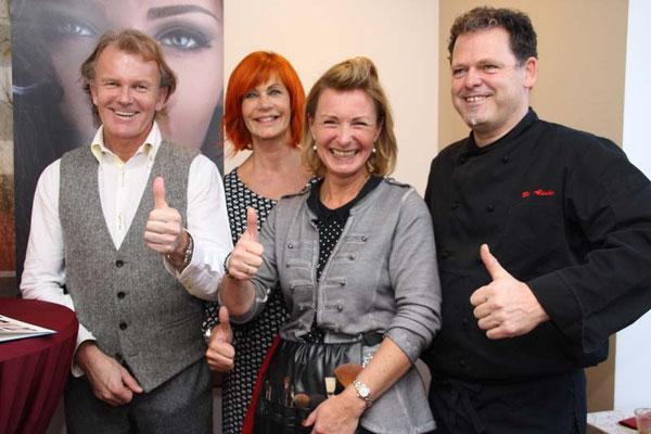 Gut gelauntes Quartett am Tag der offenen Tür im Kosmetikstudio Hautnah