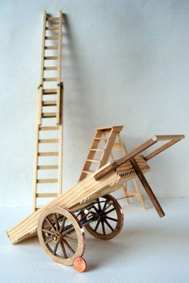 Handkar met trap en ladder