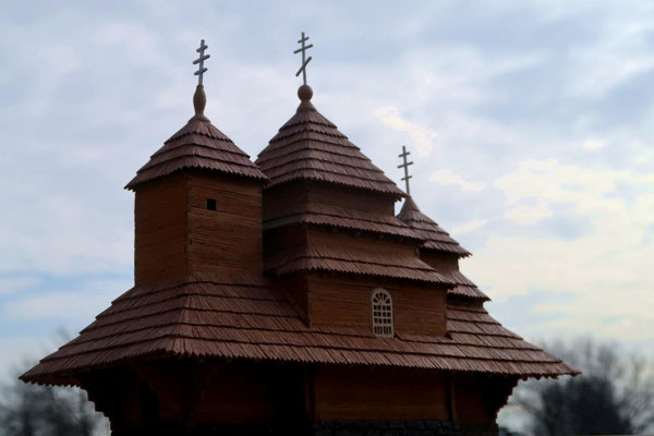 18th century Carpatian church at Uzhok. Boyko architecture.