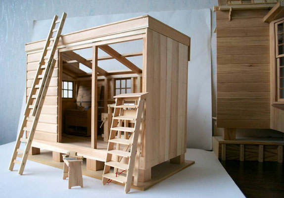 werkplaats met trap en ladder