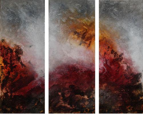 "2017-01 / (3 Bidler)  "" Vulkanische Erde I"" / jeweils 40 x 100 cm"