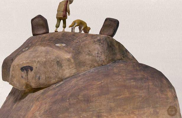 2018年ギャラリーハウスMAYA 装画コンペVol.18 入選作品「なめとこ山の熊」