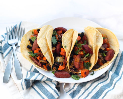 Sheet pan sausage and sweet potato taco recipe