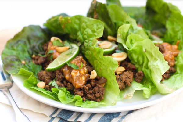 Gluten Free Beef Lettuce Wraps with Peanut Sauce Recipe