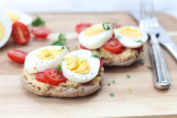 High Protein Open-Faced Egg and Hummus Sandwich Recipe