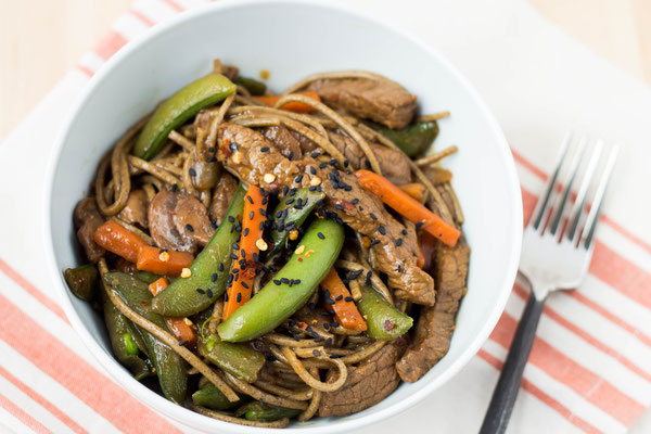 beef, veggie, and soba noodle stir fry recipe