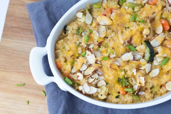 cheesy brown rice and veggie casserole recipe