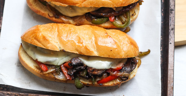 Vegetarian mushroom philly cheesesteak sandwiches