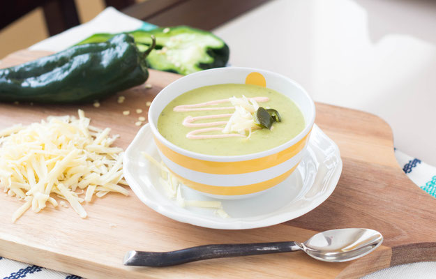 Light creamy roasted poblano soup recipe