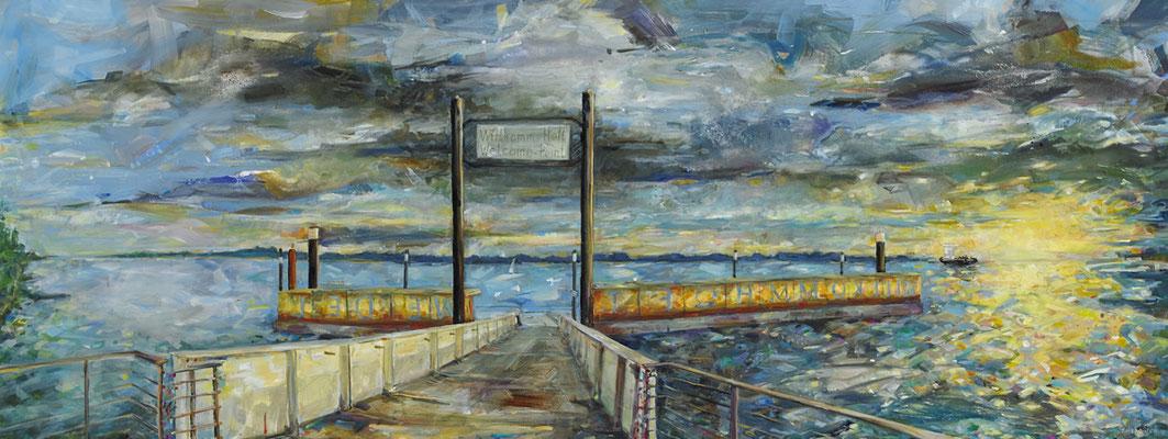"""Titel: """"Gute Fahrt"""" Willkommhöft Wedel, Größe:210 cm x 80cm, Acrylmalerei auf Leinwand"""