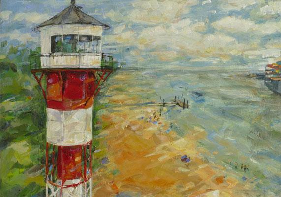 """Titel:""""Leuchtturm Wittenbergen"""", 21 cm x 30 cm, Acrylmalerei auf MDF"""
