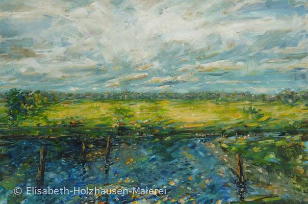 """Titel: """"Wedeler  Au"""" Blick vom Sperrwerk auf Wedel, Größe: 150 cm x 100cm, Acrylmalerei auf Leinwand"""