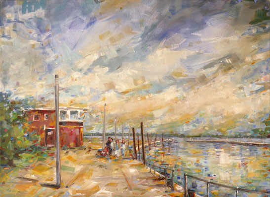 """Titel:""""Schulauer Hafen"""", Größe: 80 cm x 60 cm, Acrylmalerei auf Leinwand"""