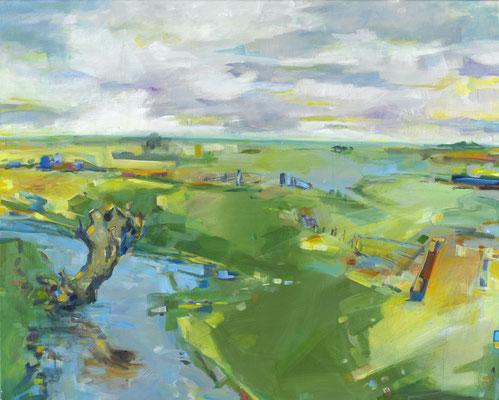 """Titel: """"Weite"""" Marschlandschaft, Größe: 100 cm x 80 cm, Acrylmalerei auf Leinwand"""