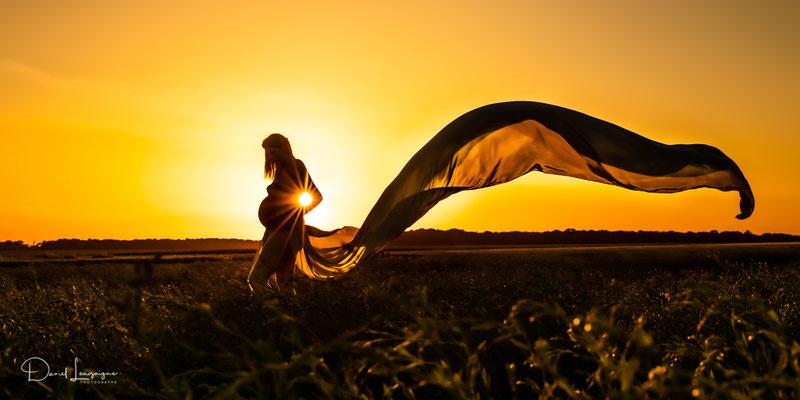 photo grossesse couché de soleil contre jour voile dans un champs de blés
