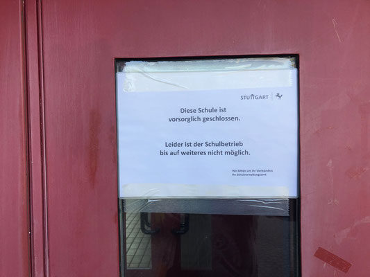 geschlossen: Seit 17.3. ist die Schule geschlossen