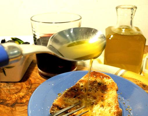 Grillbrot mit frischem Olivenöl