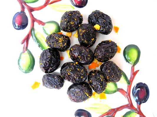 Getrocknete Amfissa Oliven mit Orange und Ingwer
