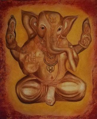 Ganesha - Harmonie part 7  50 cm x 60 cm Leinwand auf Keilrahmen, Acryl, Rötel