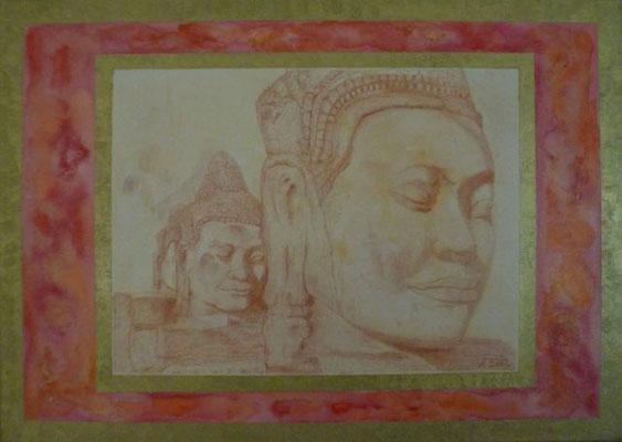 Harmonie - part 4 50 cm x 70 cm Leinwand auf Keilrahmen Acryl, Rötel