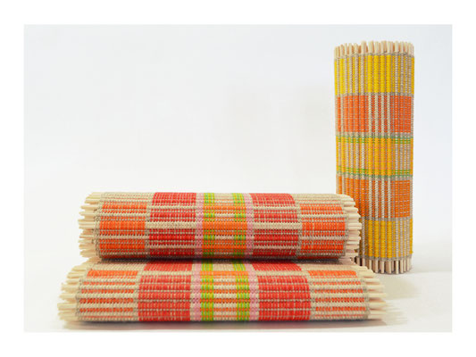 Tischband  -  Leinen, Cotton, Rattanstäbe  -  Breite 25 cm / unterschiedliche Längen