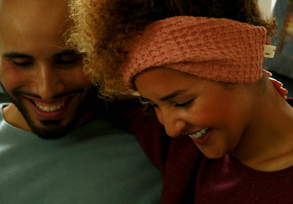 Unser handgemachtes Winter-Haarband aus Baumwoll-Strukturstoff in Terrakotta / Our Handmade Winter Structural Cotton Bandana in Terracotta / Haarband Lachs /  Bandana Salmon / Stirnband Rosa / Headband Pink / Haarband Kinder Damen Frauen