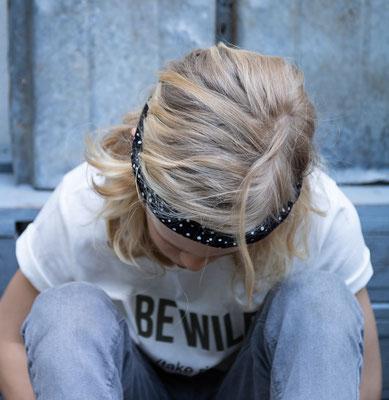 Unser handgemachtes Jersey Haarband in Schwarz mit Weißen Tupfen / Our Handmade Jersey Bandana in Black with White Spots / Jersey-Haarband Schwarz / Jersey Bandana Black / Jersey-Stirnband Schwarz / Jersey Headband Black / Haarband Damen / Bandana Kids