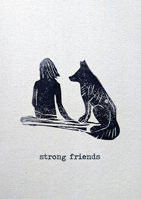 "Unsere Postkarte aus Recyclingpapier mit Freundschaftsmotiv / ""Strong Friends"" / Our Postcard made of Recycled Paper with Friendship Motif / ""Strong Friends"""